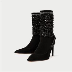 Zara sequin sock heels NWT